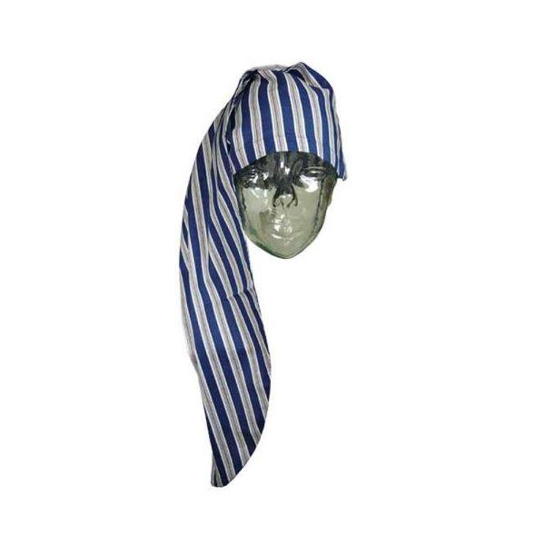 Navy Striped Cotton Nightcap