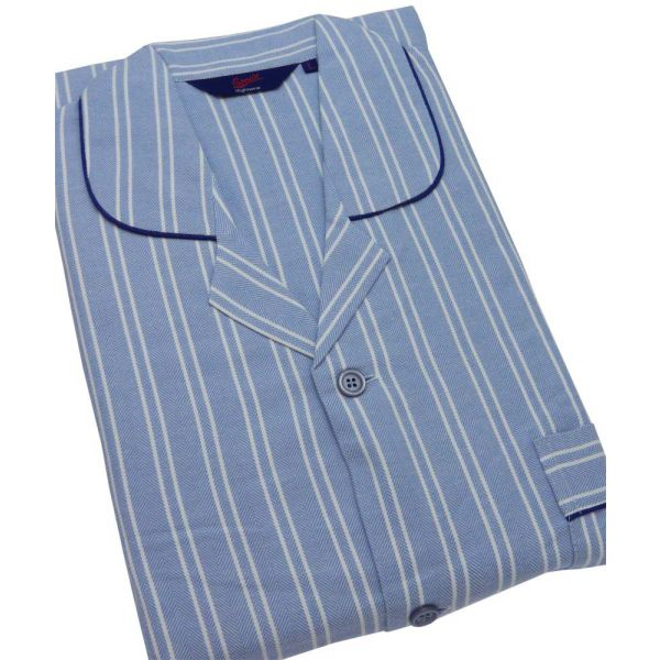 Blue and White Stripe Herringbone Brushed Cotton Pyjamas from Somax