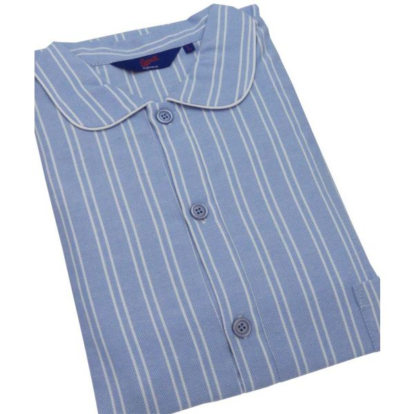 Blue and White Stripe Herringbone Brushed Cotton Nightshirt from Somax