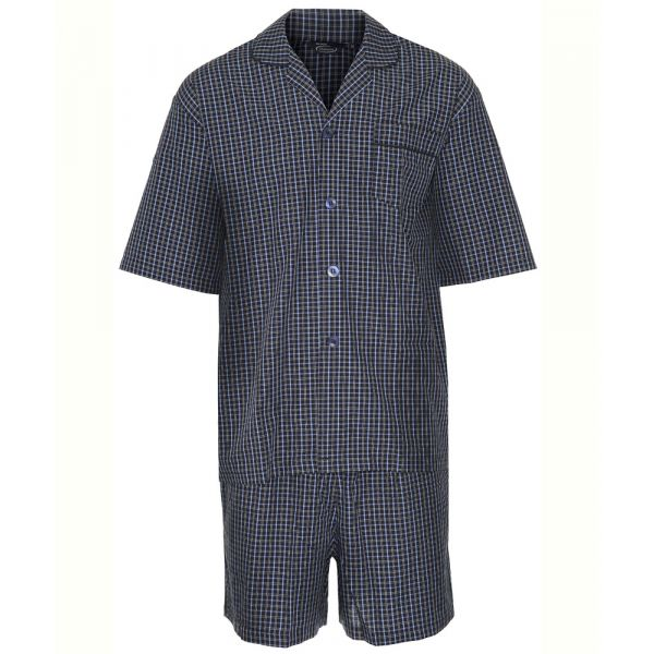 Richmond. Navy Check Easycare Shortie Pyjamas from Champion