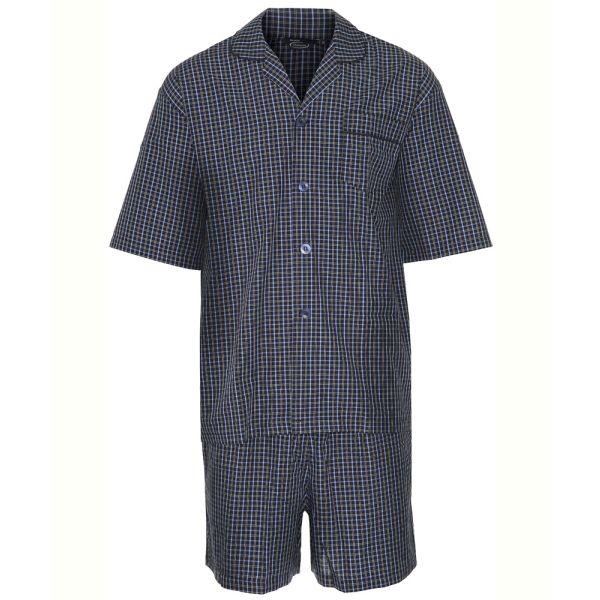 Richmond. Navy Check Easycare Shortie Pyjamas from Champion