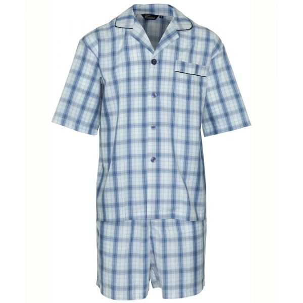 Richmond. Blue Check Easycare Shortie Pyjamas from Champion