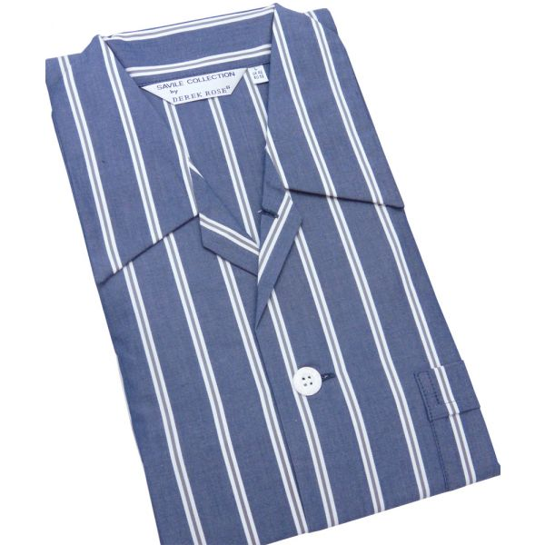 Wide Navy Stripe Cotton Tie Waist Pyjamas by Derek Rose