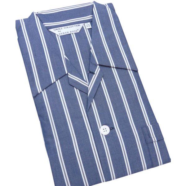 Wide Navy Stripe Cotton Tie Waist Pyjamas by Derek Rose