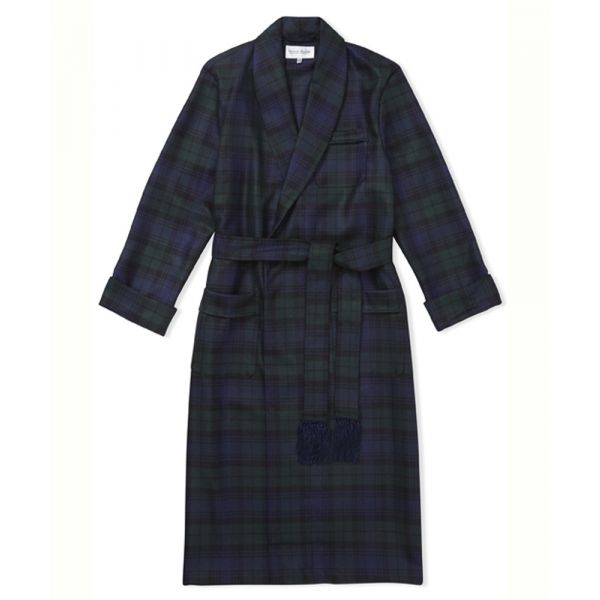 Blackwatch Tartan Design Luxury Wool Dressing Gown from Derek Rose
