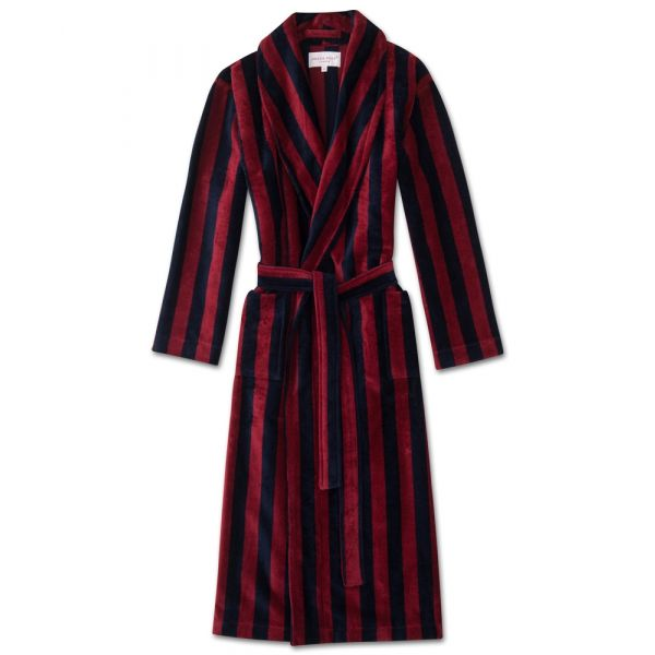 Aston. Wine and Navy Stripe Velour Gown from Derek Rose
