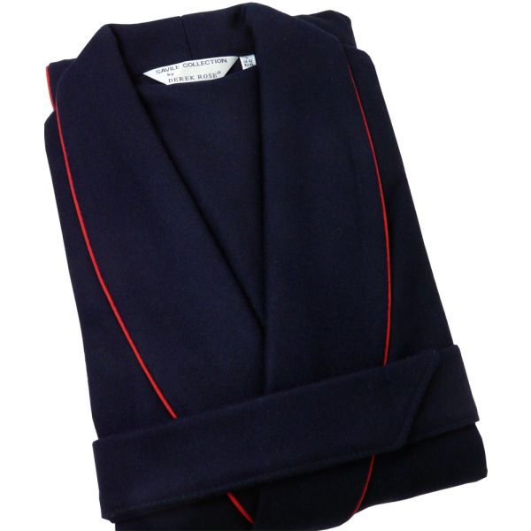 Navy Woolblend Dressing Gown from Derek Rose