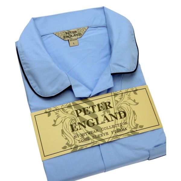 Mens Light Blue Cotton Pyjamas from Peter England