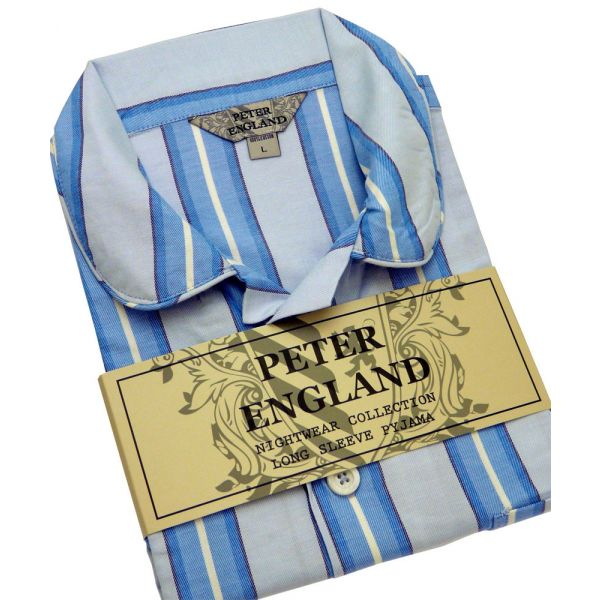 Mens Pyjamas in Blue Striped Warm Handle Cotton from Peter England