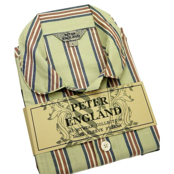 Mens Pyjamas in Green Striped Warm Handle Cotton from Peter England