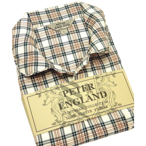 Mens Pyjamas in Green Checked Warm Handle Cotton from Peter England