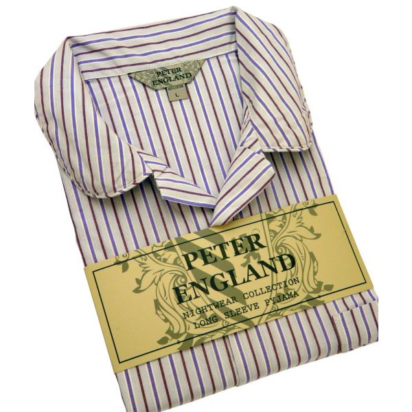 Mens Pyjamas in Wine and Purple Striped Cotton Poplin from Peter England