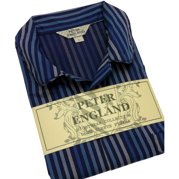 Mens Pyjamas in Navy Satin Striped Cotton Poplin from Peter England