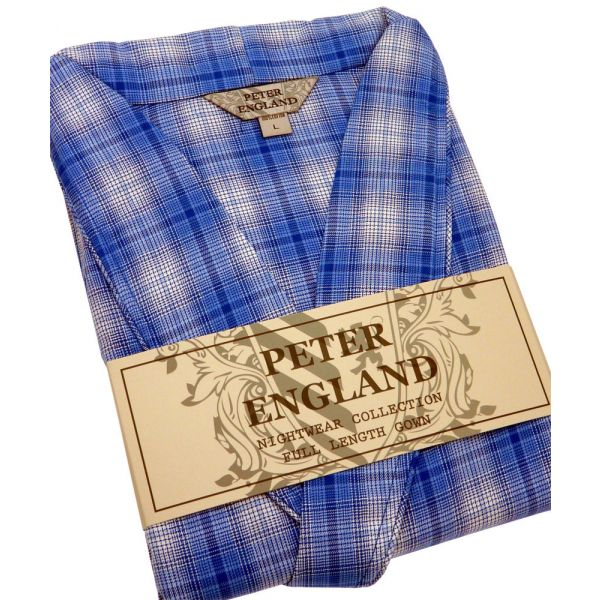 Mens Gown in Blue Check Warm Handle Cotton from Peter England