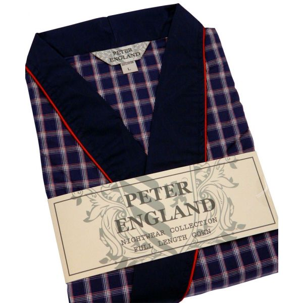 Mens Gown in Navy Check Cotton Poplin from Peter England