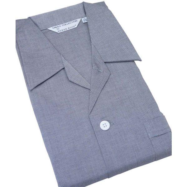 Mens Cotton Tie Waist Pyjamas in Black and Silver Design from Derek Rose