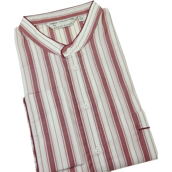 Derek Rose. Mens Cotton Nightshirt in Wine Sky and White Stripes