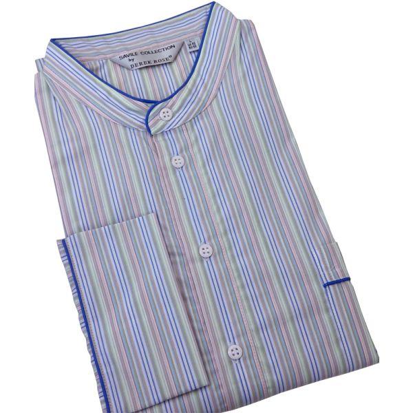 Derek Rose. Mens Cotton Nightshirt in Multi Pastel Stripes