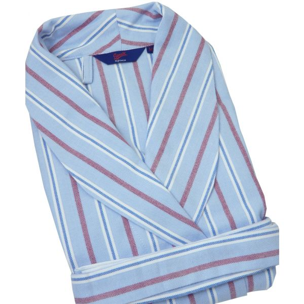 Blue Red and White Stripe Herringbone Brushed Cotton Gown from Somax