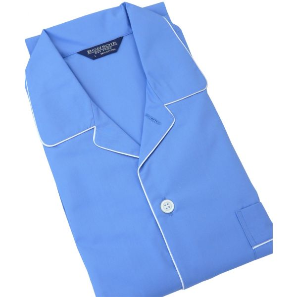 Bonsoir Mid Blue Cotton Pyjamas with Tie Waist