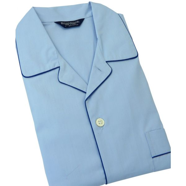 Sky Blue Cotton Pyjamas with Tie Waist from Bonsoir of London