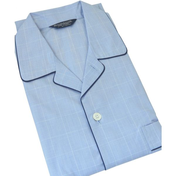 Blue Prince of Wales Check Cotton Pyjamas with Tie Waist from Bonsoir of London