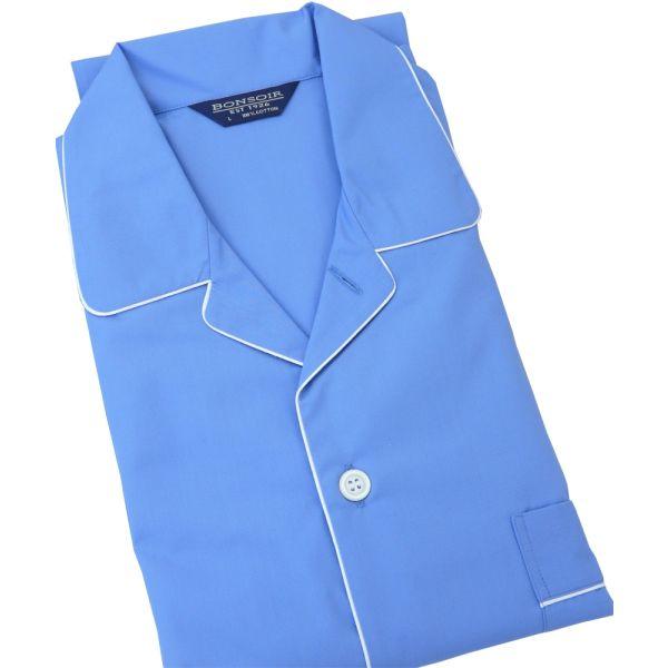 Mid Blue Cotton Pyjamas with Elastic Waist from Bonsoir of London