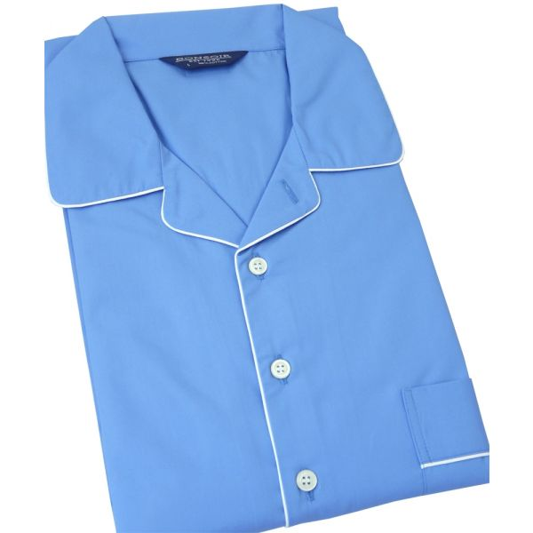 Mid Blue Cotton Nightshirt from Bonsoir of London