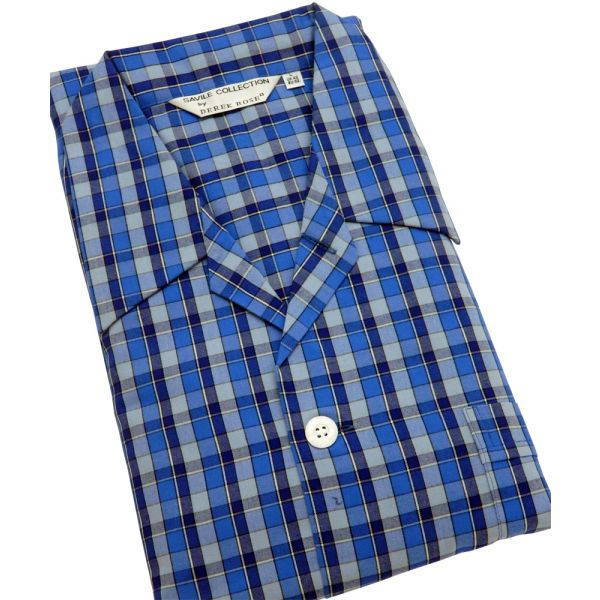 Blue Check Tie Waist Mens Cotton Pyjamas from Derek Rose