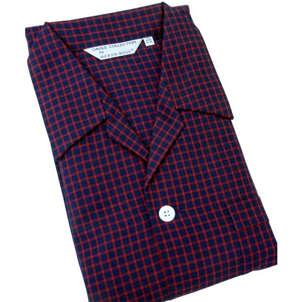 Navy with Red Check Tie Waist Mens Cotton Pyjamas from Derek Rose