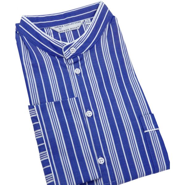 Deep Blue with White Stripes Mens Cotton Nightshirt from Derek Rose