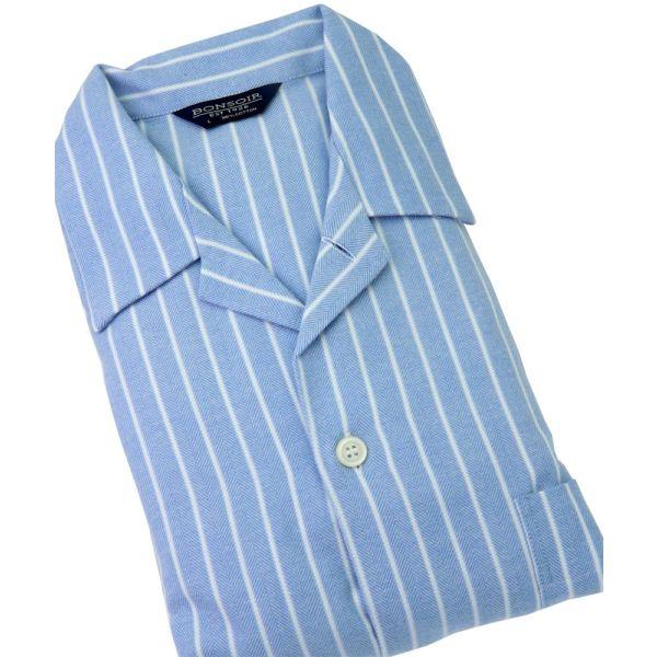 Classic Blue & White Stripe Brushed Cotton Pyjamas from Bonsoir of London
