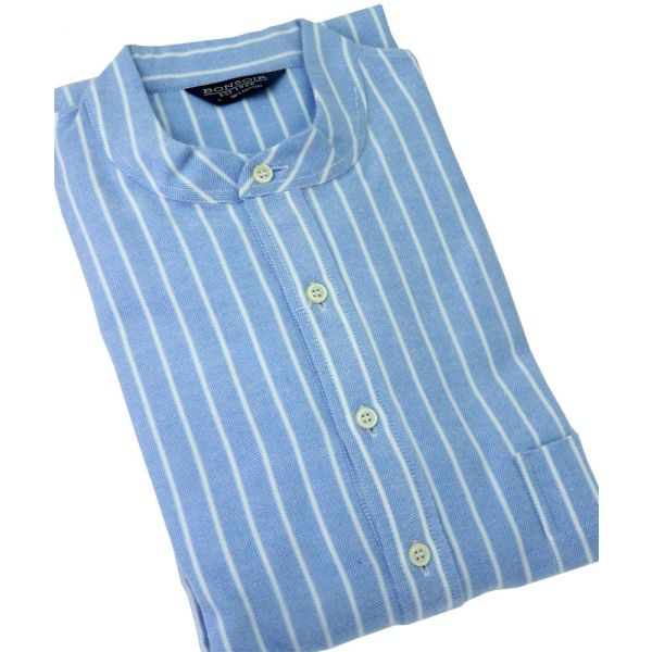 Classic Blue & White Stripe Brushed Cotton Grandad Collar Nightshirt from Bonsoir of London