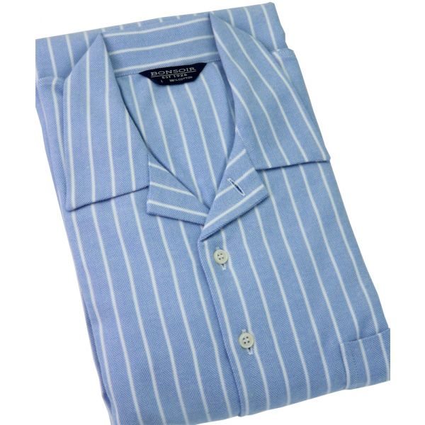 Classic Blue & White Stripe Brushed Cotton Classic Collar Nightshirt from Bonsoir of London