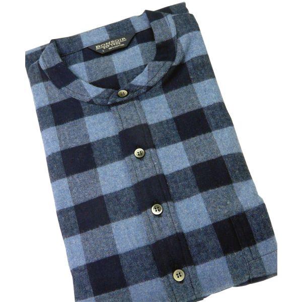 Mens Brushed Cotton Grandad Collar Nightshirt in Howard Design from Bonsoir of London
