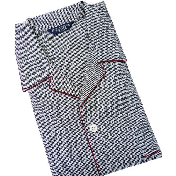 Mens Cotton Pyjamas in Black Houndstooth Design from Bonsoir of London