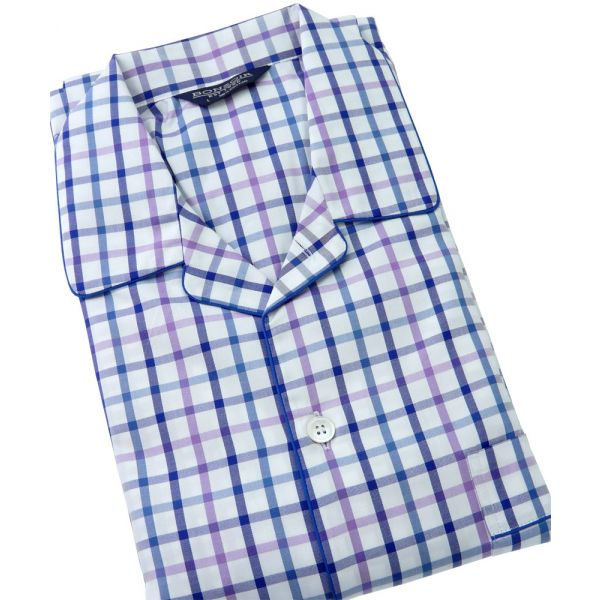 Purple and Blue Check Two Fold Cotton Pyjamas with Elasticated Waist from Bonsoir of London