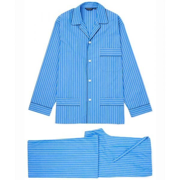 Bright Blue Stripe Two Fold Cotton Pyjamas with Tie Waist from Bonsoir of London
