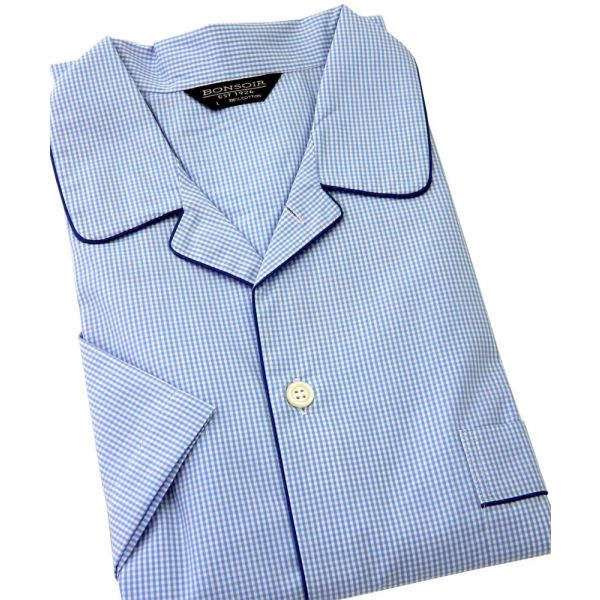 Mens Shortie Pyjamas in Sky Blue Gingham Cotton from Bonsoir of London