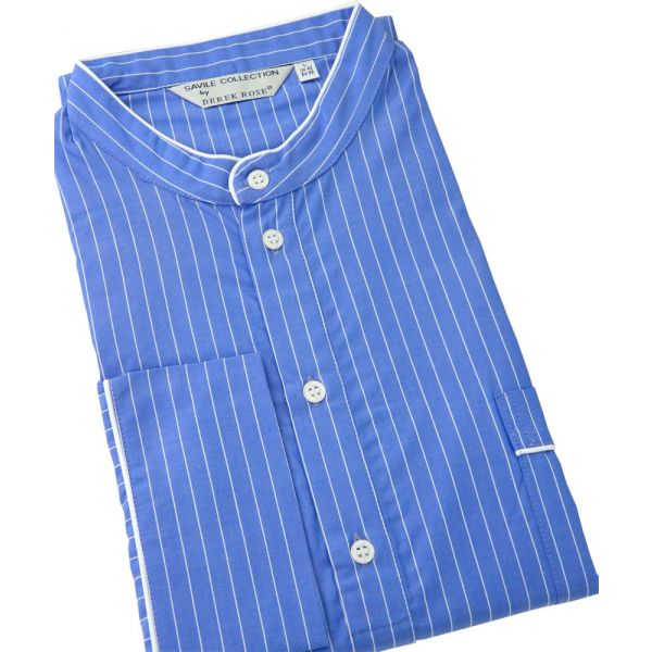 Derek Rose. Mens Cotton Nightshirt in Bright Blue with Fine White Stripe