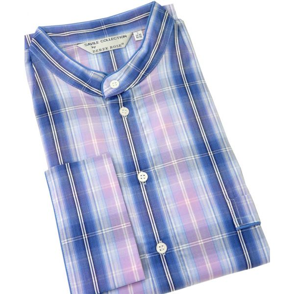 Derek Rose. Mens Cotton Nightshirt in Blue and Pink Check