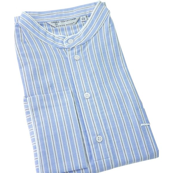 Derek Rose. Mens Cotton Nightshirt in Blue with a White and Grey Stripe