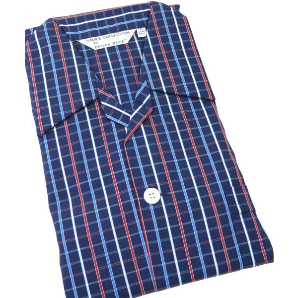Navy Striped -Mens Tie Waist Cotton Pyjamas from Derek Rose