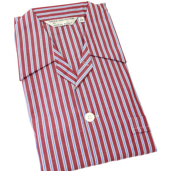 Claret and Blue Stripe -Mens Tie Waist Cotton Pyjamas from Derek Rose