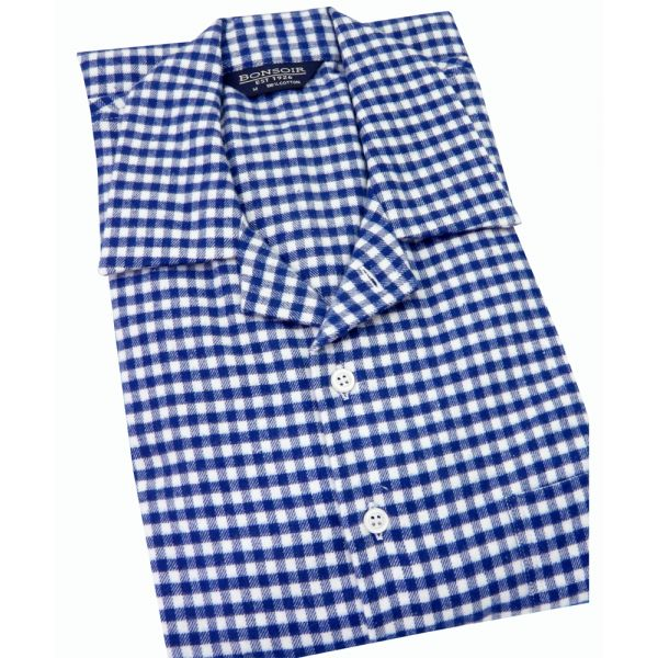 Mens Brushed Cotton Nightshirt - Navy Gingham from Bonsoir of London