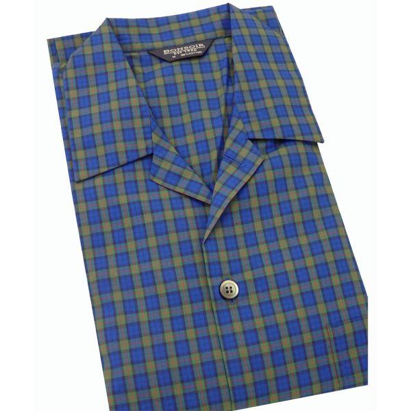 Mens Cotton Pyjamas - Albany Navy and Green Check from Bonsoir of London