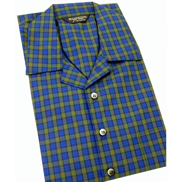 Mens Cotton Nightshirt - Albany Navy and Green Check from Bonsoir of London