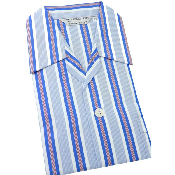 Light Blue White and Red Stripe - Elasticated Waist Cotton Pyjamas by Derek Rose