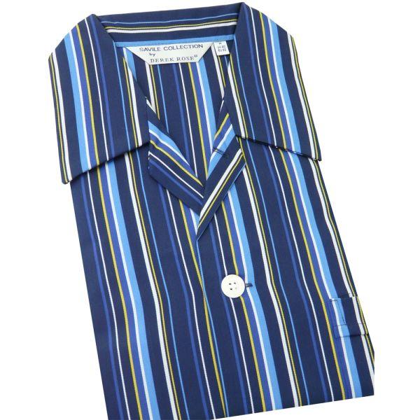 Navy Blue White and Yellow Stripe - Elasticated Waist Cotton Pyjamas by Derek Rose