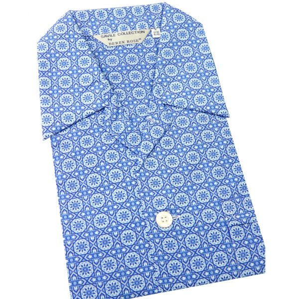 Blue Patterned Tiles Design - Elasticated Waist Cotton Pyjamas by Derek Rose